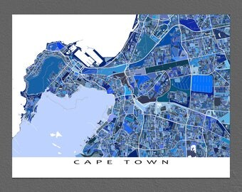 Cape Town Art Map Print, Cape Town South Africa, City Map Poster