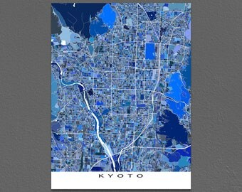 Kyoto Map Print, Kyoto Japan, City Art Poster
