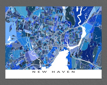 New Haven Map Art Print, Hartford Connecticut, Yale University