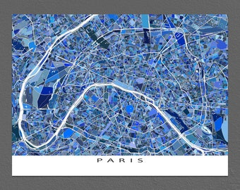 Paris Print, Paris Map, Paris France City Map Art, Blue Maps