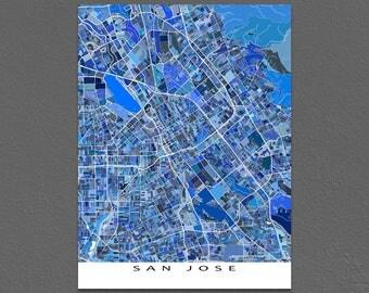 San Jose Map Art Print, San Jose California Wall Decor, USA