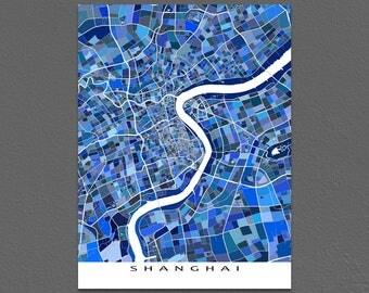 Shanghai Map Print, Shanghai China, City Maps, Wall Art Prints