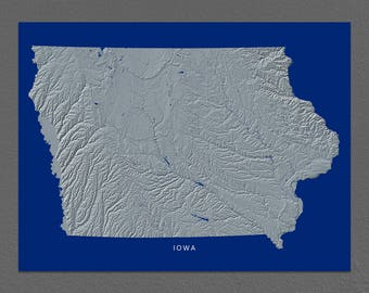 Iowa Map, Idaho Wall Art, IA State Art Print, Landscape, Navy Blue