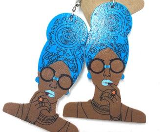 Wooden Earrings - Head Wrap Queen