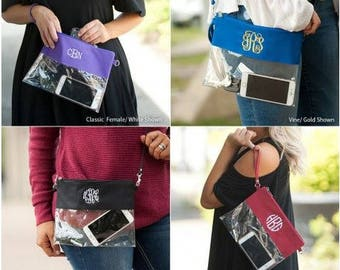 Monogrammed Clear Pouch, Clear Game Day Bag, Monogrammed Clear Bag, Stadium Approved Bag, Monogrammed Clear Zip Pouch, Clear Wristlet