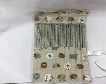 Knitting needle case with full set of metal and plastic straight knitting needles