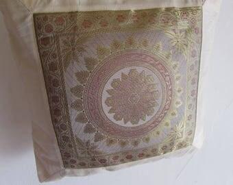 "Mandala Design Indian Cushion Cover Beige Colour 16"" x 16"" Bohemian Pillow Case Meditation Yogi Hippie Free UK Shipping"