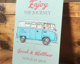Personalised Camper Van Metal Wedding Sign, Engagement Gift, Vintage style, Anniversary Gift - Bride and Groom - A4 plaque - 200mm x 300mm