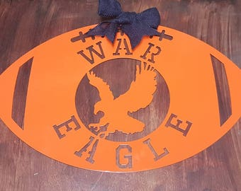 Auburn door hanger, War Eagle football, Auburn University football, metal football, Auburn University