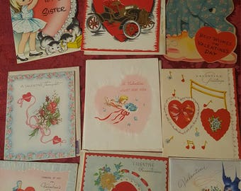 Vintage 1940's to 1950's Valentine Cards most with dated envelope's/ 10 cards