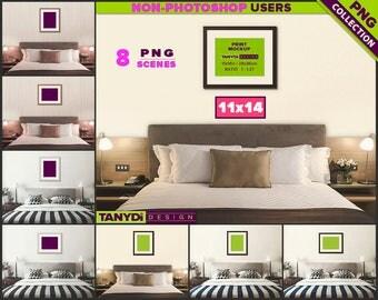 11x14 Wood Frame | 8 PNG Bedroom Scenes 1114-BRC1 | Portrait Landscape | Bedroom Interior | Light & Dark wood frames | Bedroom wall