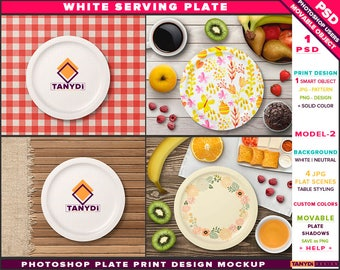 White Serving Plate | Photoshop Print Mockup SP2-1 | Movable tray | Table Styling | Breakfast Fruits | Smart object Custom color