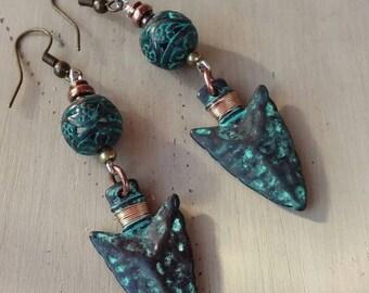 New Price: Very pretty rustic turquoise metal arrowhead earrings