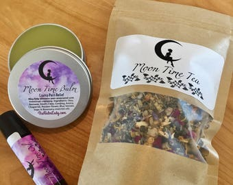 Women's Moon Time Bundle | Cramp Relief Oil | Pain Relief Balm | Hormone Balance Tea | Women's Health, PMS, Cramp Relief
