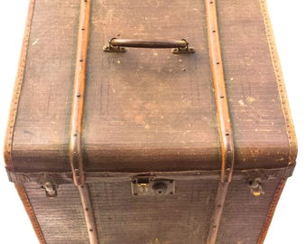 "Antique Steamer Trunk ca. 1900-30 Painted Canvas Wood Runners Working Brass Hardware Suitcase Style ""Cube"" 18.5 X 19.75"""