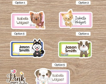 Puppy name labels • Labels for school • School labels • Stickers for kids • This belong to stickers • labels school supplies