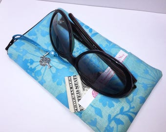 Blue Extra WIDE Eyeglass Case, ROOMY Eyeglasses Case, Zip Top Glasses Pouch, Sunglasses Pouch, Soft Glasses Case