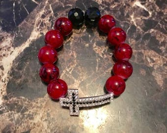 Handmade Cross Beaded Bracelet