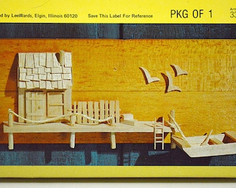 Vintage Balsa Wood Kit- Wharf Balsa Kit from Lee Wards, Beginner's Wood Art Kit with Seaside Scene