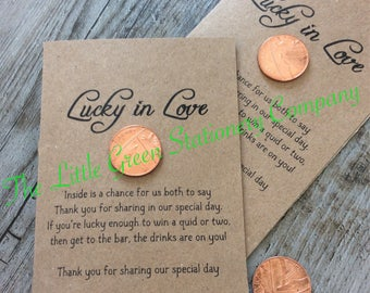 10 Pack Personalised Lucky Penny Wedding Favour Lottery Scratch Card Holders