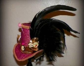 On Sale- Fasinator Pink Mini Top Hat Tea Party Gold Black Steampunk Headdress Cosplay Costume Wonderland