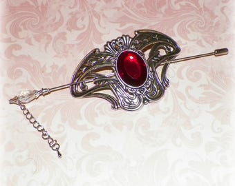 Victorian Shawl Pin Red Silver Brooch Vintage Style Scarf Pin Hair Slide Edwardian Filigree Outlander Antique Inspired Stick Outlander