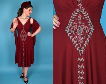 Merlot || Vintage 30's Rare and Gorgeous Burgundy Beaded Rayon Crepe Sleeveless Formal Dress with Matching Embroidered Shawl || Small S