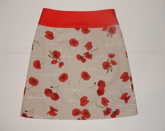 Poppies skirt, flowers, print, A-line skirt, size EU 38/40 (USA 8/10, UK 10/12), cotton, lining, zipper