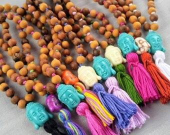 Mala Beads, 27 Bead Mala, Pocket Mala, Meditation Beads,  Prayer Beads, Japa Mala, Knotted Mala, Tassel Jewelry, Wood Beads, Buddha Bead