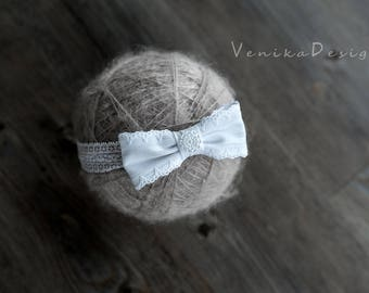 christening headband with bow i white colour
