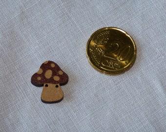 Wooden mushroom button