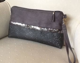 Small handbag with removable strap, evening bag, grey with grey spangles