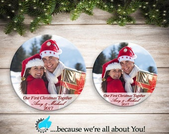 First Christmas Together or Engaged Ornament , Photo Christmas Ornament, Customized Christmas ornament Great Gift or Stocking Suffer!