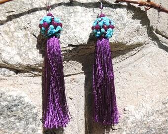 Silk Tassel earrings Boho earrings Gift for her Purple earrings Turquoise earrings Gypsy earrings Long earrings Xmas Gift Earrings for women