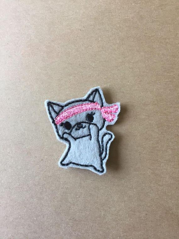 Ninja Kitty Feltie, Ninja Kitty Embellishment. Choose 1, 2 or 4