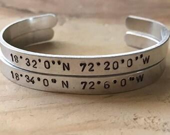 Distance gifts latitude longitude bracelet custom coordinates location bracelet long distance best friend gift couples coordinate bracelets