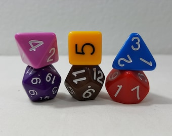 Perfect Plastic Dice - Gloss Polish with Ink - Retro 6 piece set