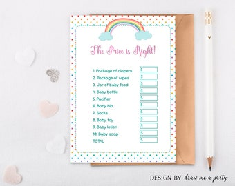 Rainbow The Price Is Right Baby Shower Game , Guess The Price Game , Printable, Instant Download