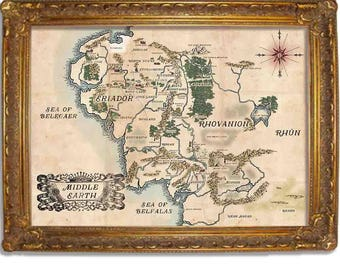 Middle Earth Map, Lord of the Rings Inspired Vintage Map, Two Color options, Multiple sizes (in inches) 11x14, 16x20, 18x24, 20x24, 24x36