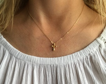 Gold Filled Cross Necklace, Tiny Cross Necklace, Religious Necklace, Easter Necklace, Spiritual Jewelry, Confirmation Necklace, Christian