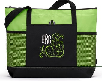 Bass Fishing Monogrammed Embroidered Tote Bag