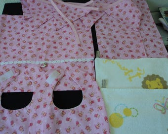 Hand made cotton fully lined babies gift set / storage bag