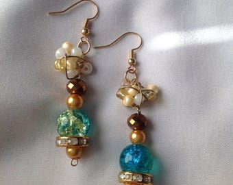Turquoise and gold wire wrapped cluster beaded earrings, dangle earrings