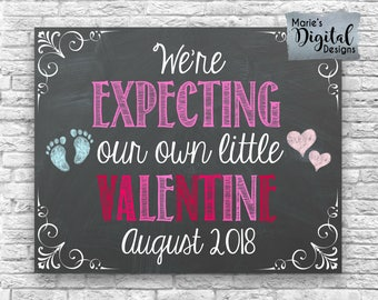 PRINTABLE - We're Expecting Our Own Little Valentine - Pregnancy Announcement / Chalkboard Photo Prop / Card Digital JPEG file Social Media