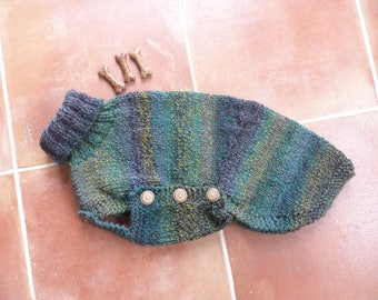 Small whippet / Italian greyhound jumper in forest green mix - Ready to post