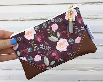 Burgundy Floral Mini Tassel Zipper Clutch