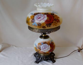 Vintage Gone With The Wind Hurricane Lamp, Rust,Brown,Pink Floral