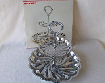 Chrome Tidbit Tray, Vintage New In Box, Irvinware Two Tier Tray