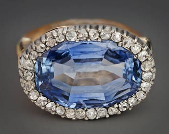 Antique 10 Ct Ceylon Sapphire and Diamond Ring