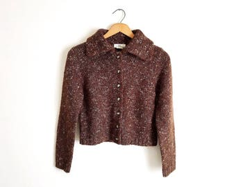 Vintage Brown Chunky Cropped Knit Cardigan